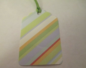 9 Green Striped Themed Handmade Gift Tags