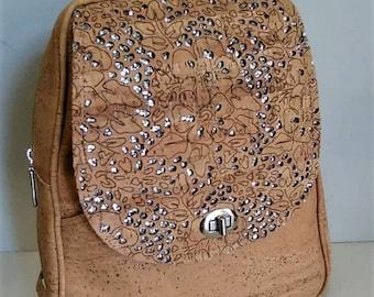 Backpack with Design - Cork Backpack - Cork Handbag - Cork Bag - 100% Natural Cork - Gift for Her