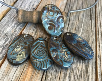 Set of 4 Rustic Blue Ceramic Oval Pendants    Pottery Charms   Blue Oval Stoneware Necklace Supply   DIY Jewelry   Blue Oval Charms