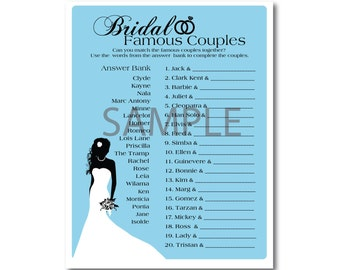 5 Blue Bridal Shower Printable Games: Famous Couples,What's in your Purse Game, Word Scramble, Bridal Advice, ect