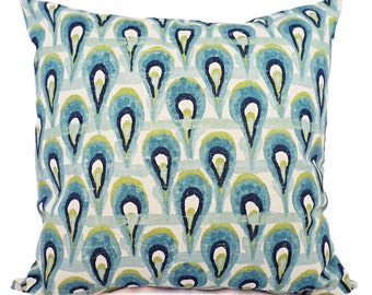 Two Decorative Pillow Covers - Two Blue and Green Ikat Covers - Blue Ikat Pillow - Green Ikat Pillow - Ikat Pillow Covers - Blue Pillows