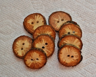 "Wood buttons wooden buttons Tree branch buttons crochet buttons cowl buttons Qty of 8....Spalted Oak 1"" buttons  lot 437"