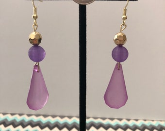 Purple/Gold Bead Earring
