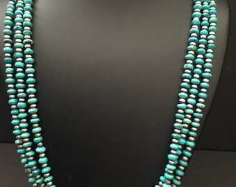 Native Americans sterling silver multi strands turquoise Necklace