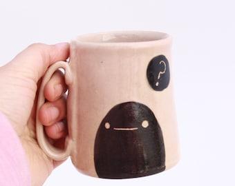 Confused Blob Mug. Quirky Sgraffito Illustration on White Stoneware with Pink glaze. Millennial Pink mug.