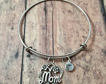 Mom bangle with birthstone - mom jewelry, Mother's Day jewelry, gift for mom, mother jewelry, heart bangle, Mom pendant, birthstone bangle