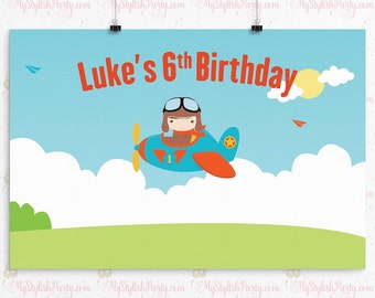 PRINTED, Airplane Birthday Banner, Airplane Birthday Backdrop, Pilot Birthday Party Decorations, Cake Table, Party Sign, Photo Booth