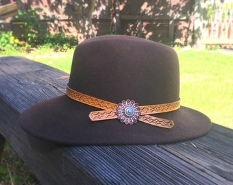 Hand Tooled Leather and Concho Hatband
