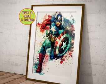 Captain America, The Avengers, Captain America Poster, Avengers, Captain Marvel, S.H.I.E.L.D, Marvel Poster, Avengers Civil War OC-682