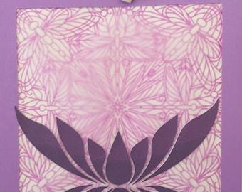 Birthday or Anytime - Zen, mandala, lotus flower - Homemade card