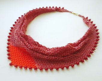 Scarf necklace red and pink, Beaded scarf, Beadwork jewelry, Festive Necklace