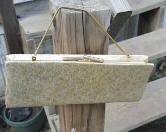 Lovely vintage/ purse/ handbag/ clutch / gold stitching