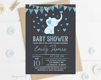 Elephant Baby Shower Invitation, Baby Shower Invitation, Blue Elephant Invite, PERSONALIZED, Digital file, #A25
