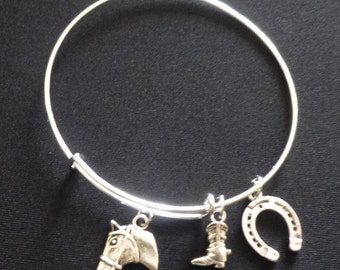 Equestrian Horse  Adjustable Wire Bracelet w Riding Boot & Horseshoe Charms ~ Adult or Child