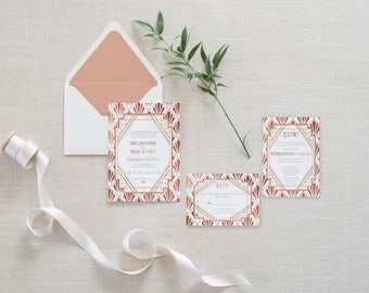 Art Deco Rose Gold Foil Wedding Invitation Set