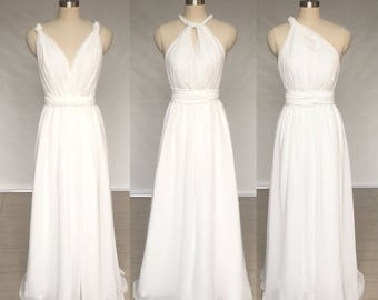 Custom Ivory Chiffon Long Convertible Bridesmaid Dress