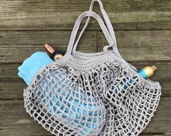 French Market Bag, Beach Bag, Markey Bag, Reusable Bag, Mother's Day gift, Gift for her, Gray bag