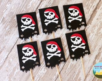 Pirate Flag Cupcake Toppers, Pirate Cupcake Toppers, Skull Cupcake Toppers