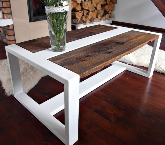 Handmade Reclaimed Wood & Steel Coffee Table Modern Rustic