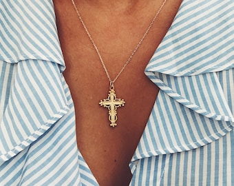 Free Shipping. Gold Plated Chain with Baroque Cross Pendant. Hand made