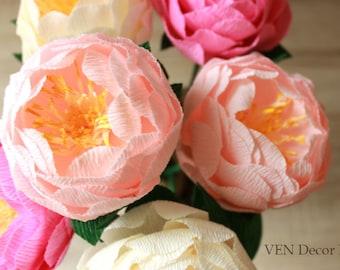 6 Wedding Paper Peonies, Wedding Peonies Centerpieces, Paper Flower Centerpieces, Table Decor, Bridal Shower Decorations Paper Peony Bouquet