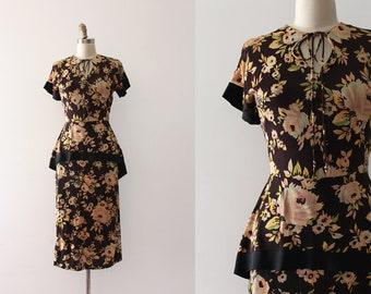 vintage 1940s dress // 40s floral rayon jersey dress