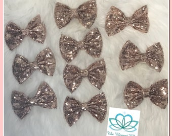 Rose Gold sequin bow clip, 5 inch rose gold bow