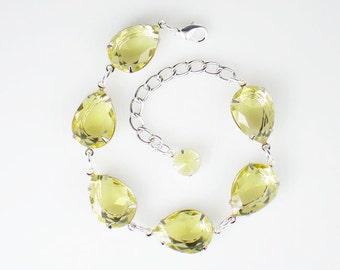 Rhinestone Bracelet, Yellow Bracelet, Bridesmaid Gift, Wedding Jewelry, Gift for Her, Yellow Wedding, Bridesmaid Jewelry, Wedding Party Gift