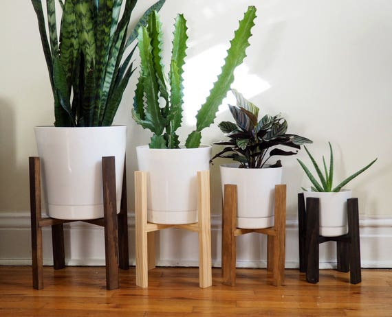 modern plant stands  Mid-Century Modern Plant Stand Wooden Plant Stand Indoor