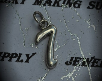 Number 7 Sterling Silver Plated Charm