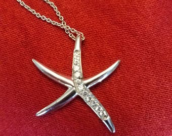 Sterling silver starfish pendand necklace