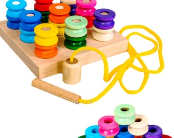 Wooden Lacing Spools Toy, Rainbow Spools, Rainbow stacker, Lacing Spools, Colour matching, Montessori Educational Toys, Waldorf, sewing toys