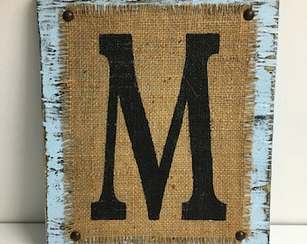 Wood Letters, BURLAP Monogram, Rustic, wedding, Ready to Hang, NAME Sign, Distressed, custom signs, shabby chic decor, farmhouse sign, baby
