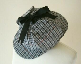 Sherlock Deerstalker Wool Tweed Hat in Blue, Black, Cream, Red & Orange Small