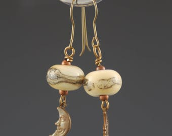 Crescent Moons, Artisan Earrings, Lampwork Glass Beads,  Ivory, Silver, Antique Brass, Tammie Mabe, Drop Earrings, Jewelry, Gift for her, US