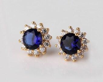 Blue Sapphire Earrings 14K Yellow Gold-Filled / Sapphire Earrings Studs