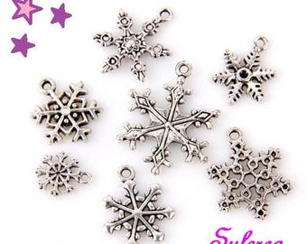 7 charms from 28 to 13 mm mixed winter / snowflake sizes weather silver-plated