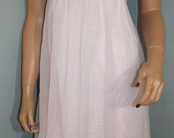 Sz Small Vintage French Made Lingerie Company Pink Baby Doll Nightie Nightgown