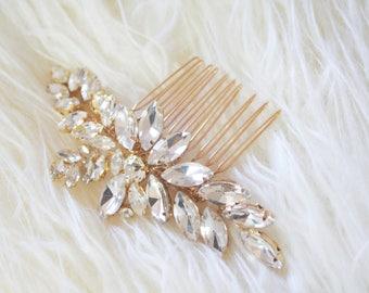 Gold crystal wedding bridal hair comb