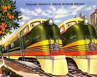 Vintage Seaboard Air Line Railroad. Orange Blossom Special. New York to Florida. PRINT 8x10