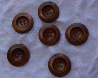Buttons wood 2.5 cm four holes