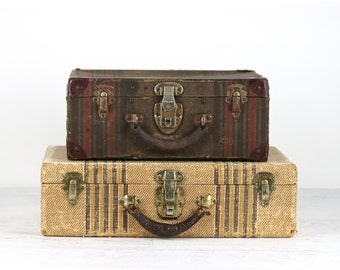 Suitcase Stack, Vintage Suitcases, Striped Suitcases, Stack Of Two Suitcases, Old Suitcases, Luggage, Old Luggage