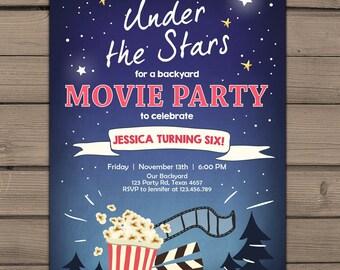 Gentil Movie Night Birthday Invitation Under The Stars Invitation Outdoor Movie  Party Popcorn Stars Backyard Movie Paty