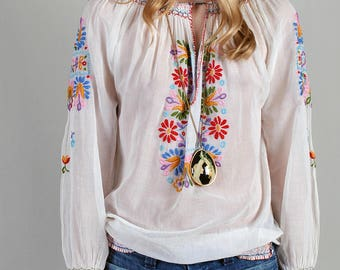 On hold ***  Hand Embroidered Peasant Blouse, Hungarian 20s 30s Boho Blouse guaze Women's Bouses, Top