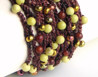 Crocheted Silk Beaded Bracelet Jewelry, Hand Dyed Silk Cuff with Peridot Jasper Bamboo Coral Czech Glass, Vogue Crochet 2012