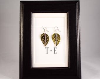 Brass and Silver Leaf Earrings