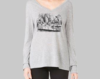 Alice in Wonderland Long Sleeve Tshirt Disney shirts Alice in Wonderland Shirt v neck tshirt womens long sleeve shirt vintage
