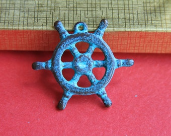 1/10 MADE  in GREECE Mykonos boat helm, green patina boat wheel pendant, green patina large pendant, beach pendant (X735ACG) Qty1