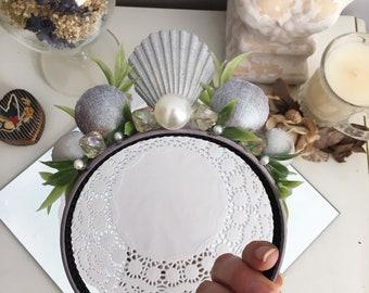 Silver Shells, Pearls, Crystal Beads, and Greenery Mermaid Crown Headband
