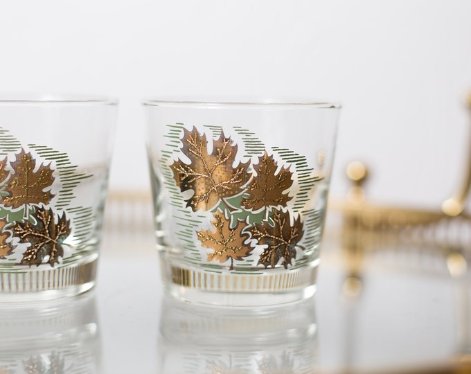 8 Gold Leaf Lowball Tumblers - 8oz Fine Blow Glass with Metallic Decal - Canadian Leaf Emblem Hollywood Regency Bohemian Glass -Gift for her